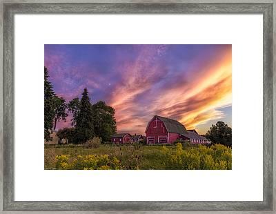 Red Barn Sunset 2 Framed Print by Mark Papke