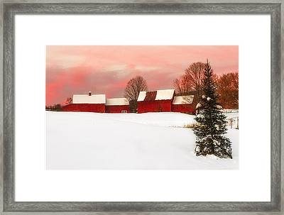Red Barn Sunset Framed Print
