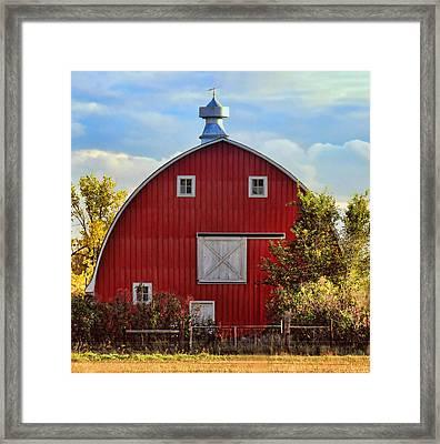 Red Barn Framed Print by Sylvia Thornton