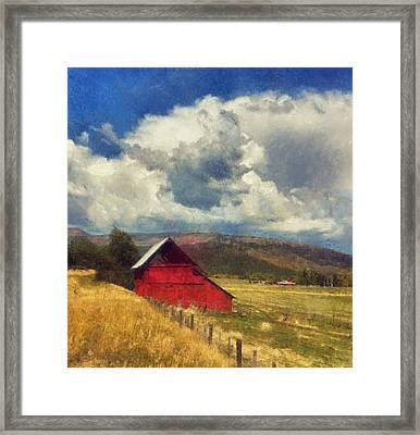 Red Barn Under Cloudy Blue Sky In Colorado Framed Print