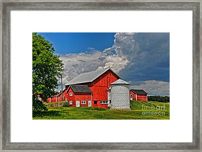 Framed Print featuring the photograph Red Barn White Silo by Trey Foerster