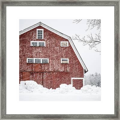 Red Barn Whiteout Framed Print