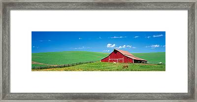 Red Barn With Horses Wa Framed Print by Panoramic Images