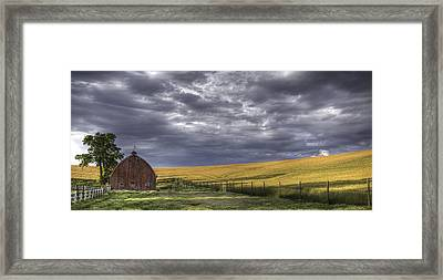 Red Barn With Lamas Framed Print by Latah Trail Foundation