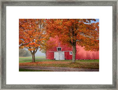 Framed Print featuring the photograph Red Barn With White Barn Door by Jeff Folger