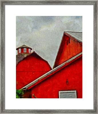 Red Barns At Amish Acres Framed Print