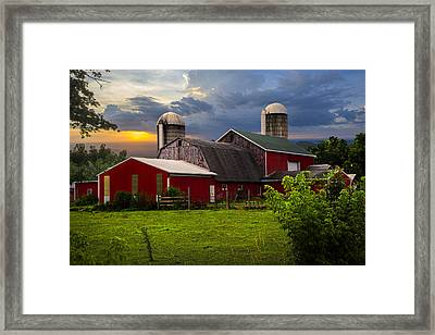 Red Barns Framed Print by Debra and Dave Vanderlaan