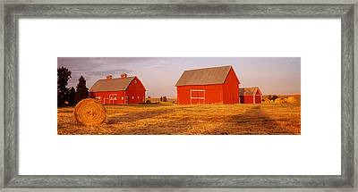 Red Barns In A Farm, Palouse, Whitman Framed Print by Panoramic Images