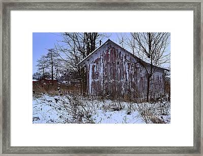 Red Barns In Winter Framed Print