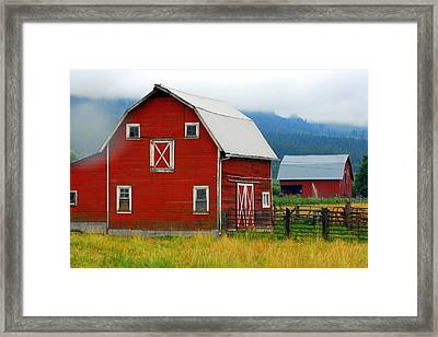 Red Barns Framed Print by Mamie Gunning