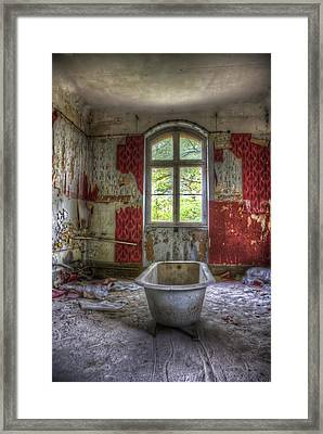 Red Bathroom Framed Print by Nathan Wright