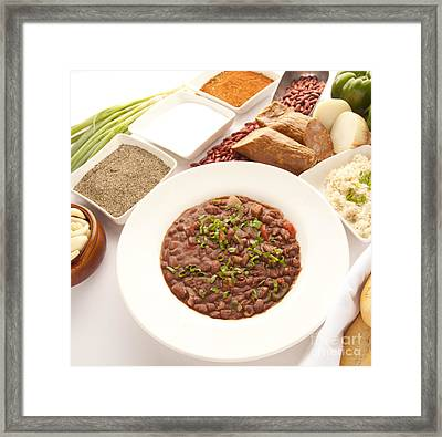 Red Beans And Rice Framed Print by New  Orleans Food