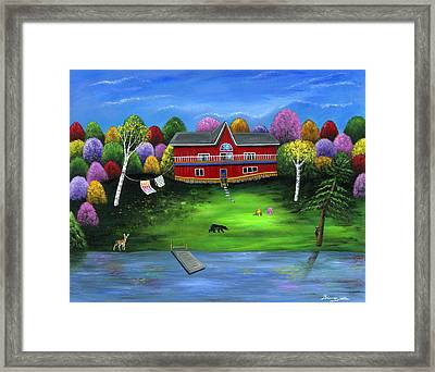 Red Bear Cottage Framed Print by Brianna Mulvale
