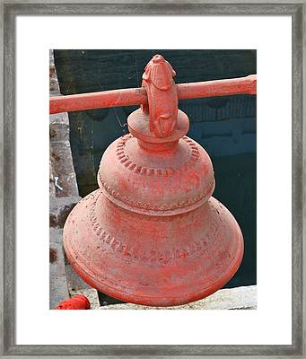 Red Bell At The Kund - Varanasi India Framed Print