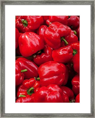 Red Bell Peppers For Sale At Weekly Framed Print by Panoramic Images