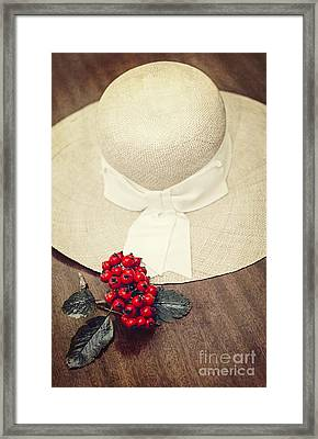 Red Berries And Hat Framed Print