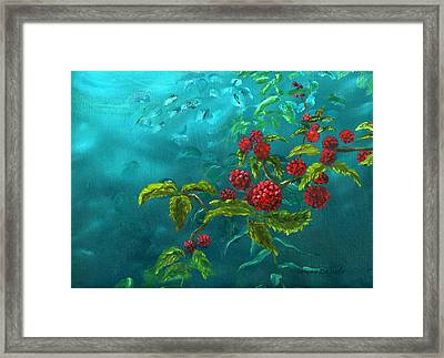 Red Berries In Blue Green Painting Framed Print