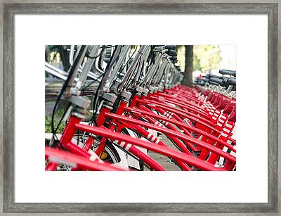 Red Bicycles Framed Print by Jess Kraft