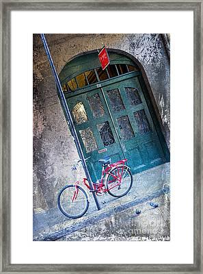 Framed Print featuring the digital art Red Bike by Erika Weber