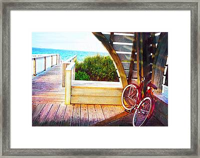 Red Bike On Beach Boardwalk Framed Print