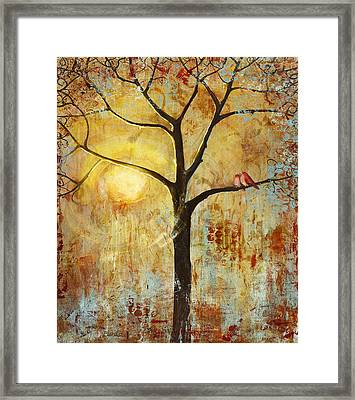 Red Birds Tree Version 2 Framed Print by Blenda Studio