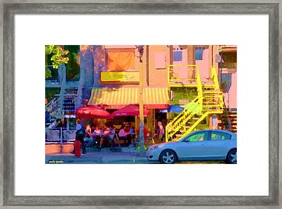 Red Bistro Umbrellas Cafe Cote Soleil Rue St Denis Yellow Staircase Montreal Scenes Carole Spandau Framed Print by Carole Spandau