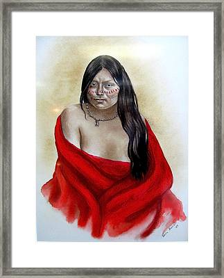 Red Blanket Framed Print by Karen Roncari