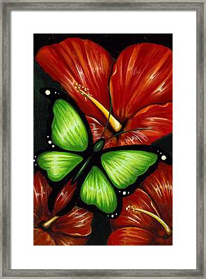 Red Blooms Framed Print by Elaina  Wagner
