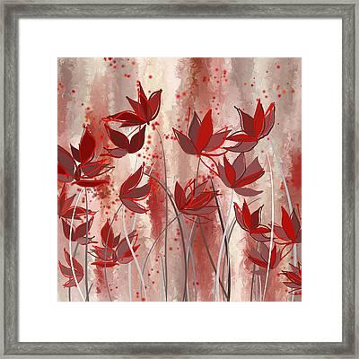 Red Blossoms- Marsala Art Framed Print by Lourry Legarde