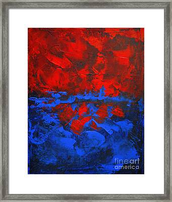 Red Blue Abstract Make It Happen By Chakramoon Framed Print by Belinda Capol