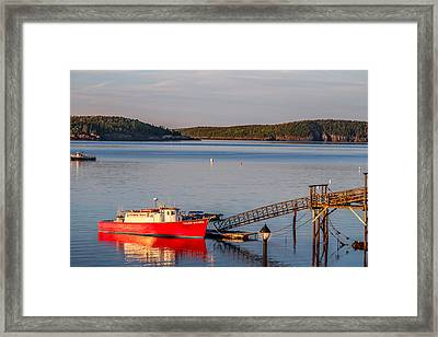 Framed Print featuring the photograph Red Boat Bar Harbor Me by Trace Kittrell
