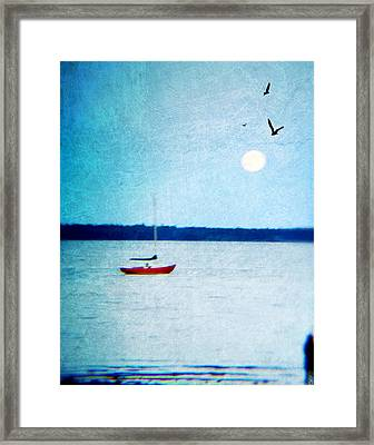 Red Boat Big Moon Framed Print