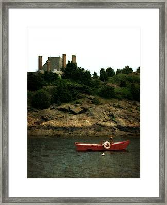 Red Boat In Newport Framed Print by Michelle Calkins