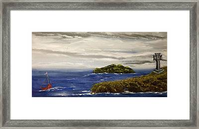 Framed Print featuring the painting Red Boat In The Celtic Sea by Susan Culver