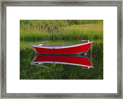 Red Boat Framed Print by Juergen Roth