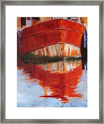 Red Boat Framed Print by Nancy Merkle