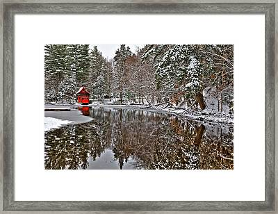 Red Boathouse In Winter Framed Print by David Patterson