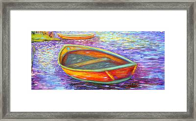 Red Boats On Autumn's Shore Framed Print