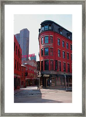 Red Brick Buildings In North End Framed Print