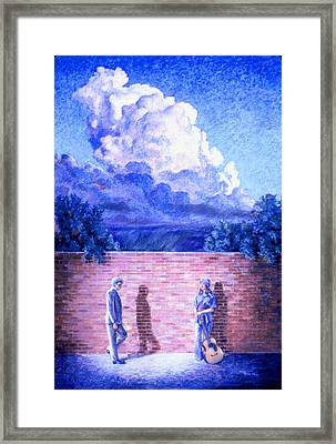 Red Brick Wall Framed Print by Dan Terry