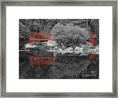Red Bridge Black And White Framed Print