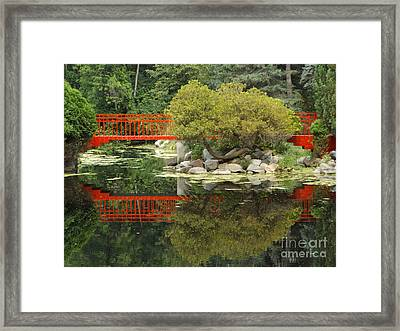 Red Bridge Close Reflection Framed Print