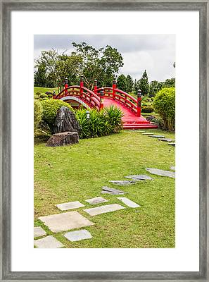 Red Bridge In A Japanese Garden Framed Print