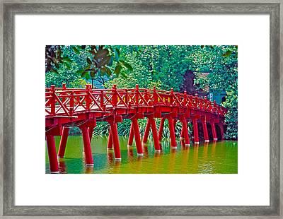 Red Bridge In Hanoi Vietnam Framed Print