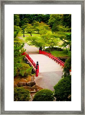 Red Bridge In Hirosaki Park Japan Framed Print by David Smith