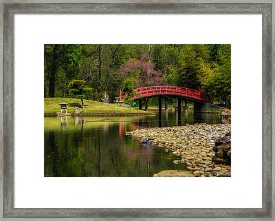 Red Bridge Framed Print by Jon Woodhams