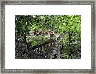 Red Bridge Over Peaceful Water Framed Print by MM Anderson