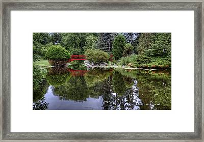 Red Bridge Reflection Framed Print
