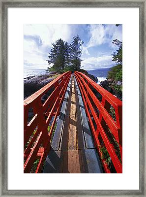 Red Bridge To Nowhere Framed Print by Kim Lessel