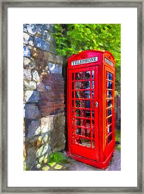 Red British Phone Box In A Little English Village Framed Print by Mark E Tisdale